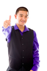 model isolated positive attitude thumbs up