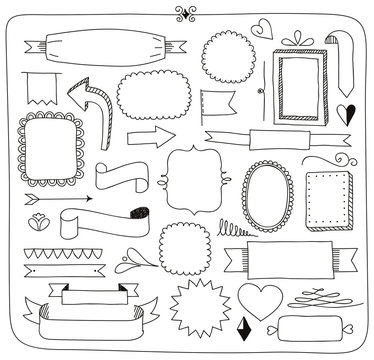 doodle banners frames and design elements