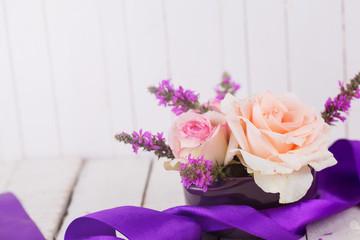Postcard with elegant  flowers