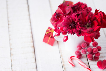 Christmas decoration with festive bouquet.