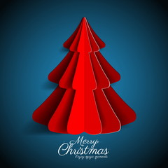 Creative paper Christmas tree on dark blue background. simple ve