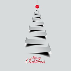 Simple vector christmas tree made from paper stripe - original n