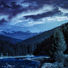 forest river in mountains at night
