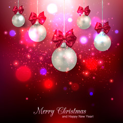 Shining red Christmas background with silver balls and place for