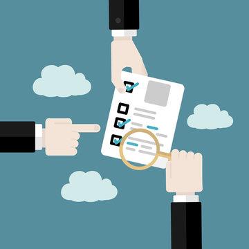 Business audit concept . Flat design vector illustration