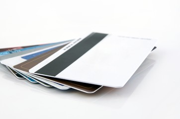 Multiple blank credit cards close up