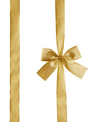 golden ribbon and bow with clipping path