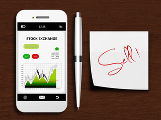 mobile phone with stock exchange screen, pen and sell note