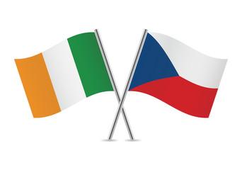 Czech and Irish flags. Vector illustration.