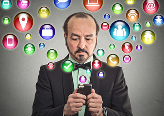 businessman using texting on smartphone browsing internet