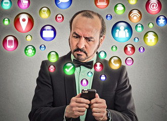 Man executive using smartphone multimedia icons flying