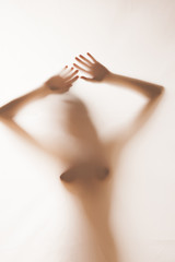Diffuse silhouette of perfect nude woman - full naked body