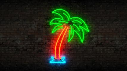 neon palm tree Wall mural