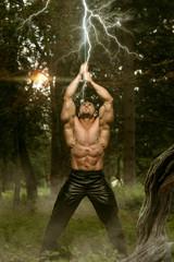 Lightning Strikes On Man's Sword