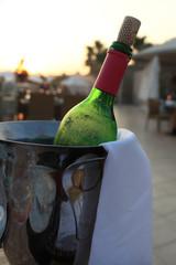 Bottle of wine in a bucket