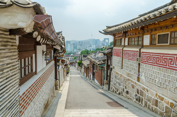 Bukchon hanok village in summer at seoul south korea