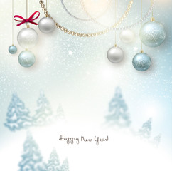 Beautiful Christmas background with blurred Christmas trees. Whi