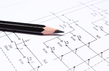 Pencil on electrical diagrams