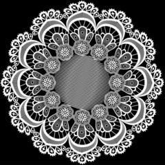 circular pattern with flowers from lace