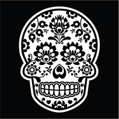 Mexican sugar skull - Polish folk art style on black