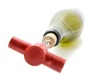 cork, cork-screw and bottle