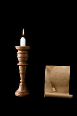 candle and old letter