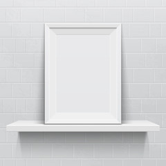 Realistic picture frame on white realistic shelf