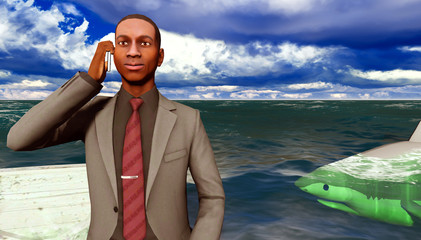 African businessman surrounded by sharks