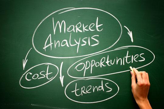 Market Analysis infographics on blackboard