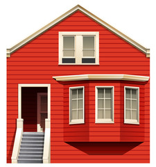 A red house with stairs