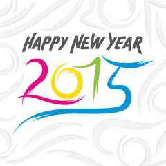 colorful new year 2015 sketch design  vector