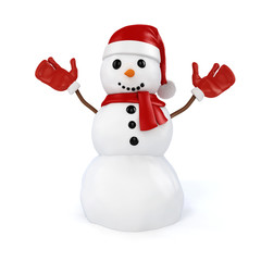 3d happy snowman with santa hat and red gloves