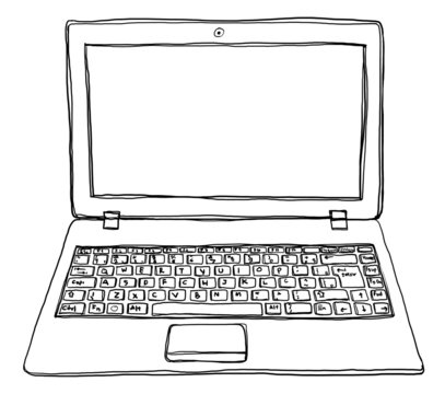 laptop notebook computer cute line art
