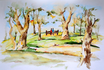 Watercolor drawing. Landscape with autumn park