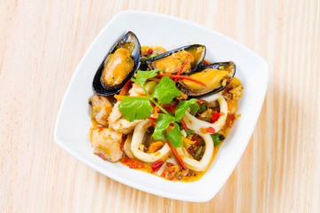 Thai style spicy stir fried seafood
