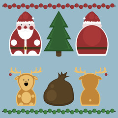 Santa Claus and Deer. Set