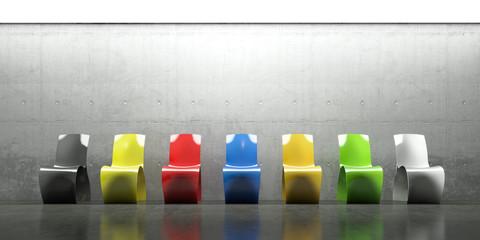Möbel, Stühle Farben, Bunt