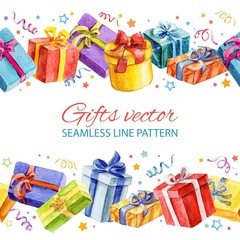 Seamless line pattern with gifts. watercolor.