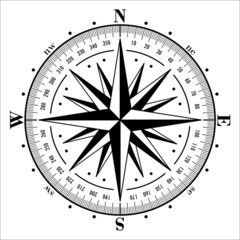 Compass rose isolated on white. Vector illustration.