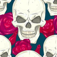 seamless pattern with skulls