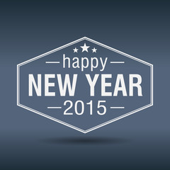 happy new year 2015 hexagonal white vintage label