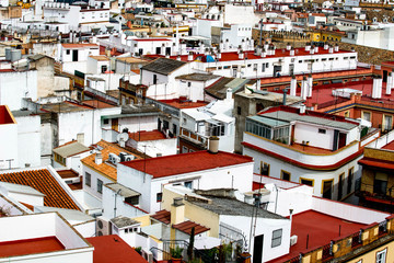 view over the roofs of the old quarter of Seville