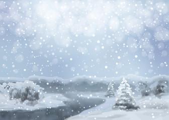 Vector Watercolor Snowy Landscape