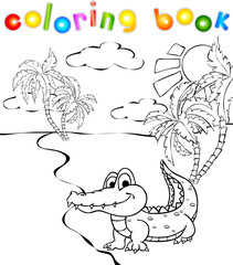 Funny cartoon crocodile near a river coloring book