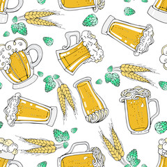 Vector seamless pattern with cartoon beer mugs