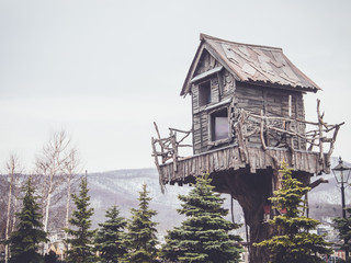 wooden tree house with a retro filter effect
