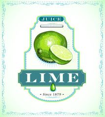 Lime juice product label