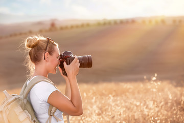 Photographing ripe wheat field