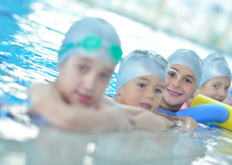 children group  at swimming pool