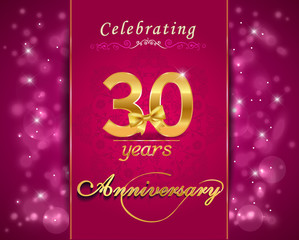 30 year anniversary celebration sparkling card, 30th anniversary